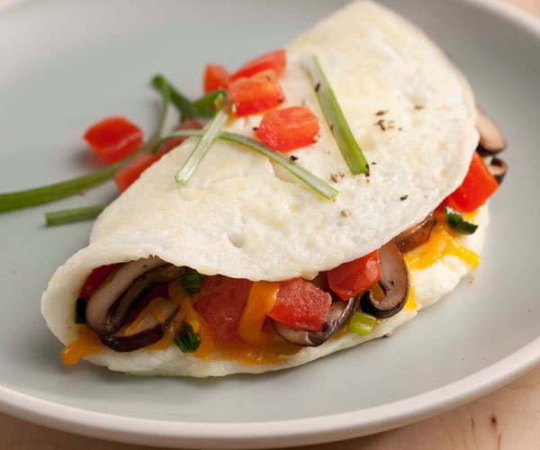 Egg White Omelet with Mushrooms Tomato and Cheddar