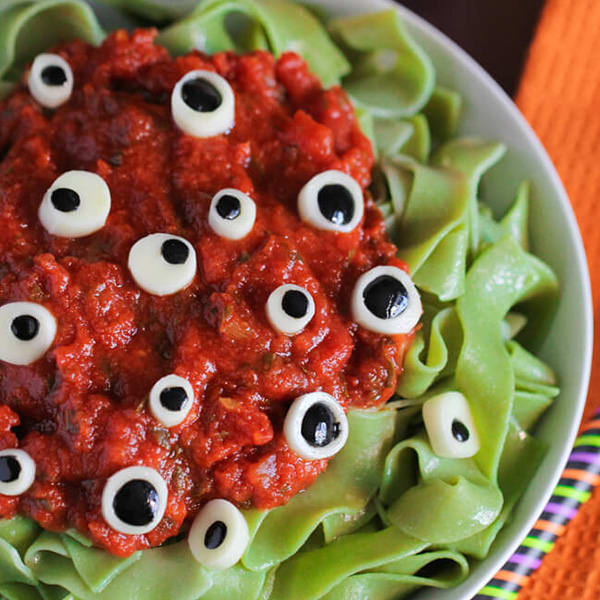 Eyeball Pasta Halloween Snack