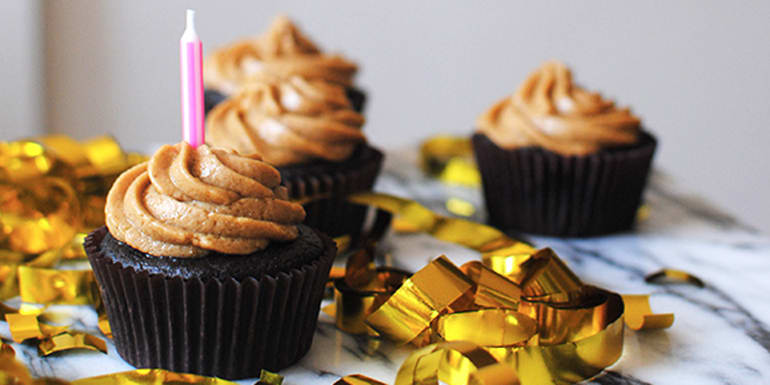 Flourless Brownie Cupcakes with Peanut Butter Frosting