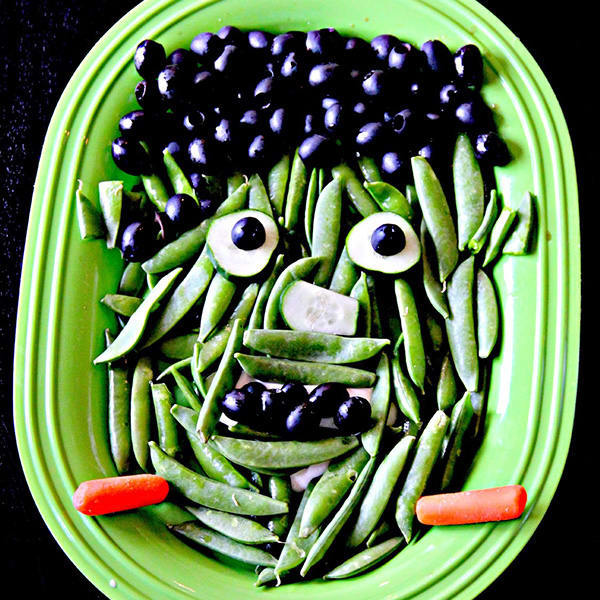 Frankenstein Veggies Halloween Snack