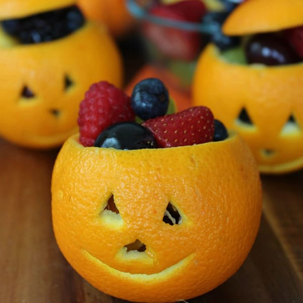 jack o lantern fruit cups halloween snack - Halloween Healthy Food