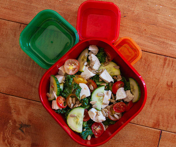Kale and Chicken Salad with 21 Day Fix containers