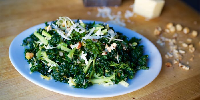 Kale and Broccoli Matchstick Salad with Hazelnuts
