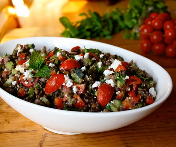 Lentil salad recipe with tomatoes, mint, and feta