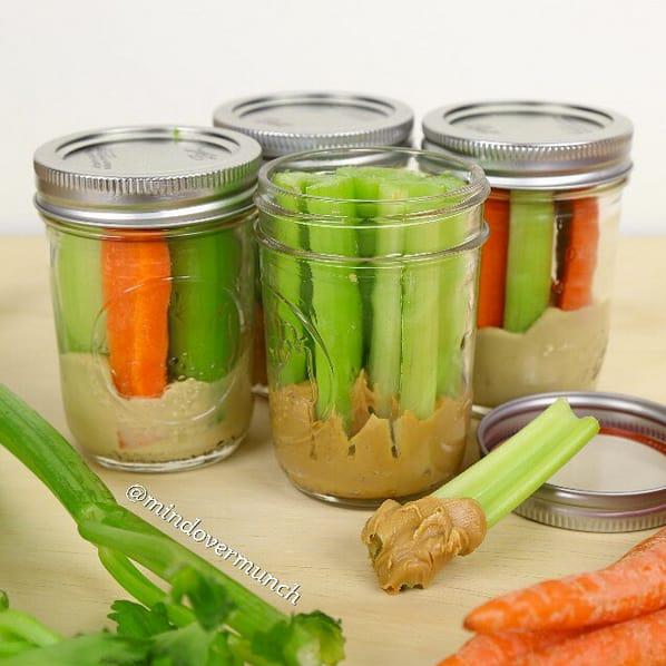 Meal prep snacks mason jars with peanut butter and celery sticks