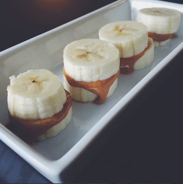 Meal prep snacks peanut butter banana sandwiches.