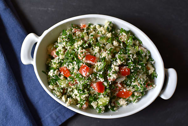 3-Day Refresh No-Cook Meal Prep Cauliflower Tabouleh Salad