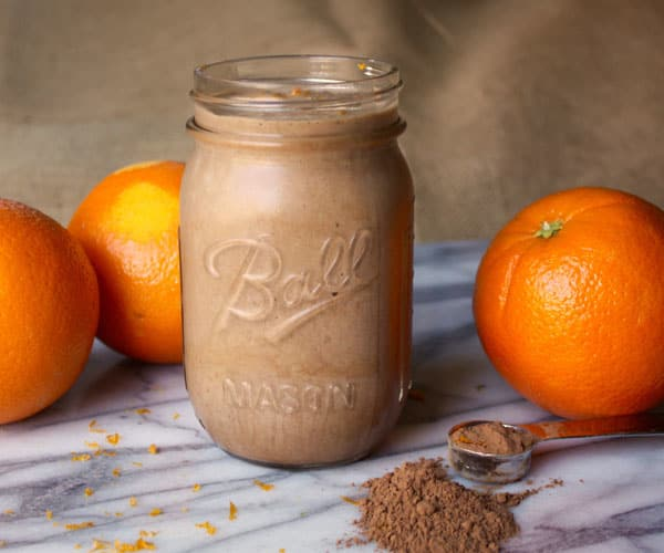 Orange Mocha Latte Shakeology made with Café Latte Vegan Shakeology