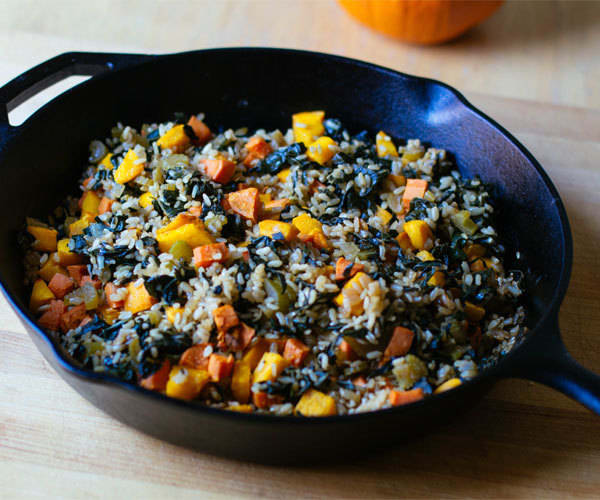 Recipe for roasted pumpkin, sweet potato, and brown rice pilaf.