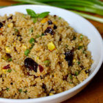 This healthy quinoa recipe features naturally nutty quinoa, slightly tart dried cherries and buttery pistachios for just the right amount of crunch.