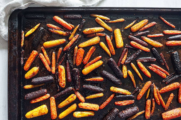 Roasted Rainbow Carrots with Maple Glaze