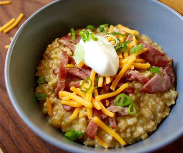 Savory Irish Oats with Turkey Bacon, Cheddar, and Chives | BeachbodyBlog.com
