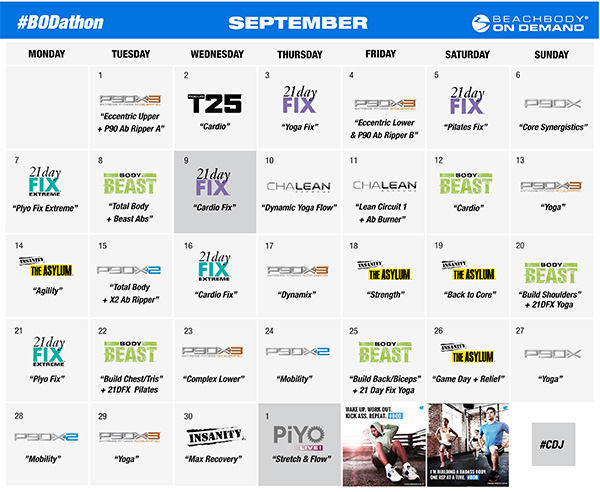 September BODathon Schedule