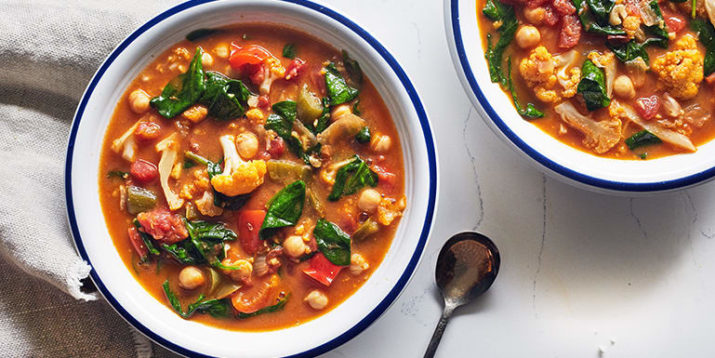 Vegan Slow Cooker Stew with Chickpeas and Spinach