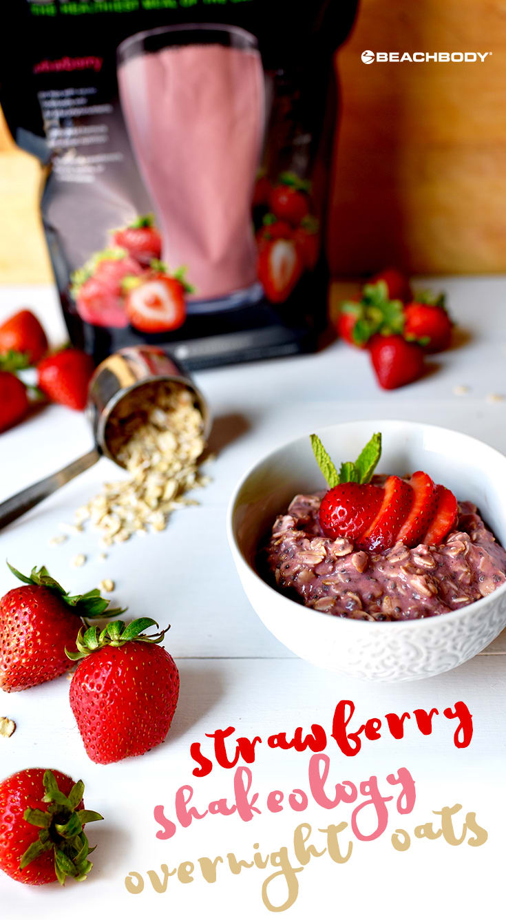 These Strawberry Overnight Oats are made with old-fashioned rolled oats, sea salt, nutritious chia seeds, almond milk and creamy Strawberry Shakeology.