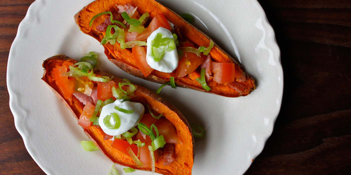 Sweet Potato Skins with Turkey Bacon and Tomatoes
