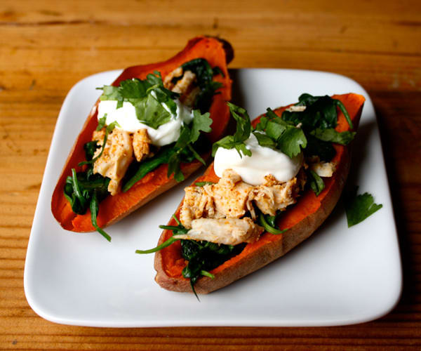 Game Day Recipes: Sweet Potato Skins with Chicken and Spinach | BeachbodyBlog.com