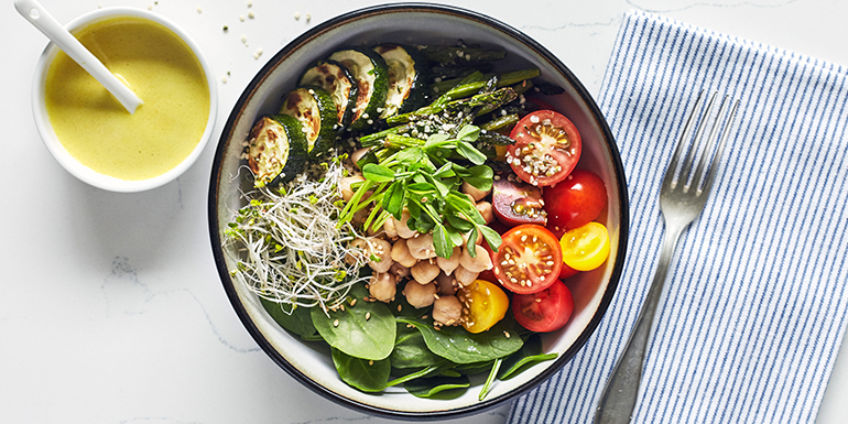Vegan Buddha Bowl with Spring Vegetables