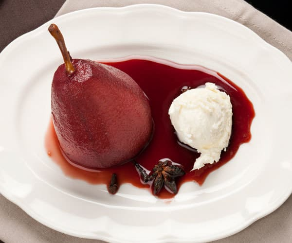 Wine poached pears with mascarpone recipe