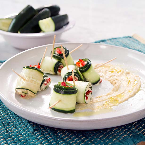 Healthy 4th of July Recipes: Cucumber Hummus Roll-ups