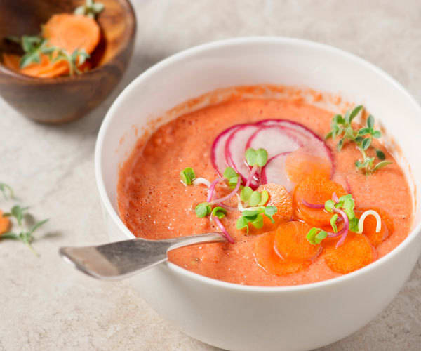 tomato and watermelon gazpacho soup with radishes and carrots recipe