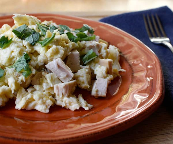 High-protein egg white scramble with chicken breakfast recipe.