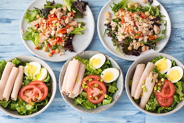 21 Day Fix Easy Meal Prep No Cook Lunches - Cobb Salad and Bean Salad