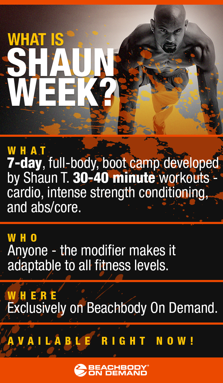 Get shredded with Shaun Week, a high energy boot camp workout! Shaun T workout