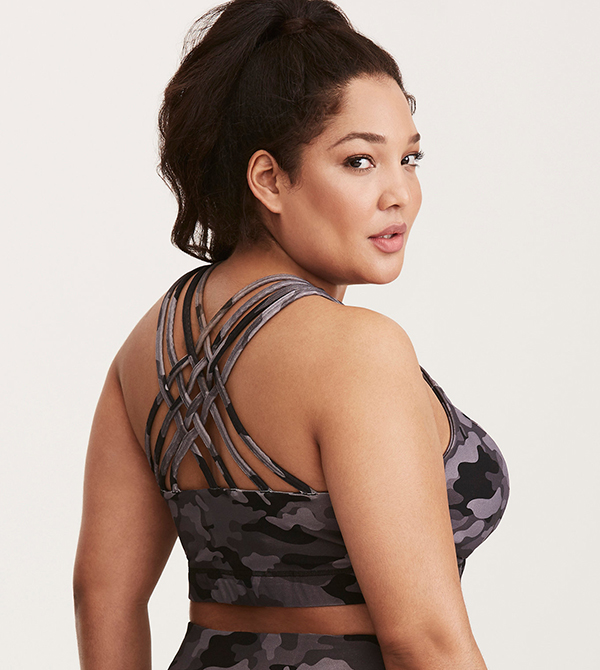 Plus Size Workout Clothes - Torrid-Active---Camo-Print-Strappy-Back-Sports-Bra