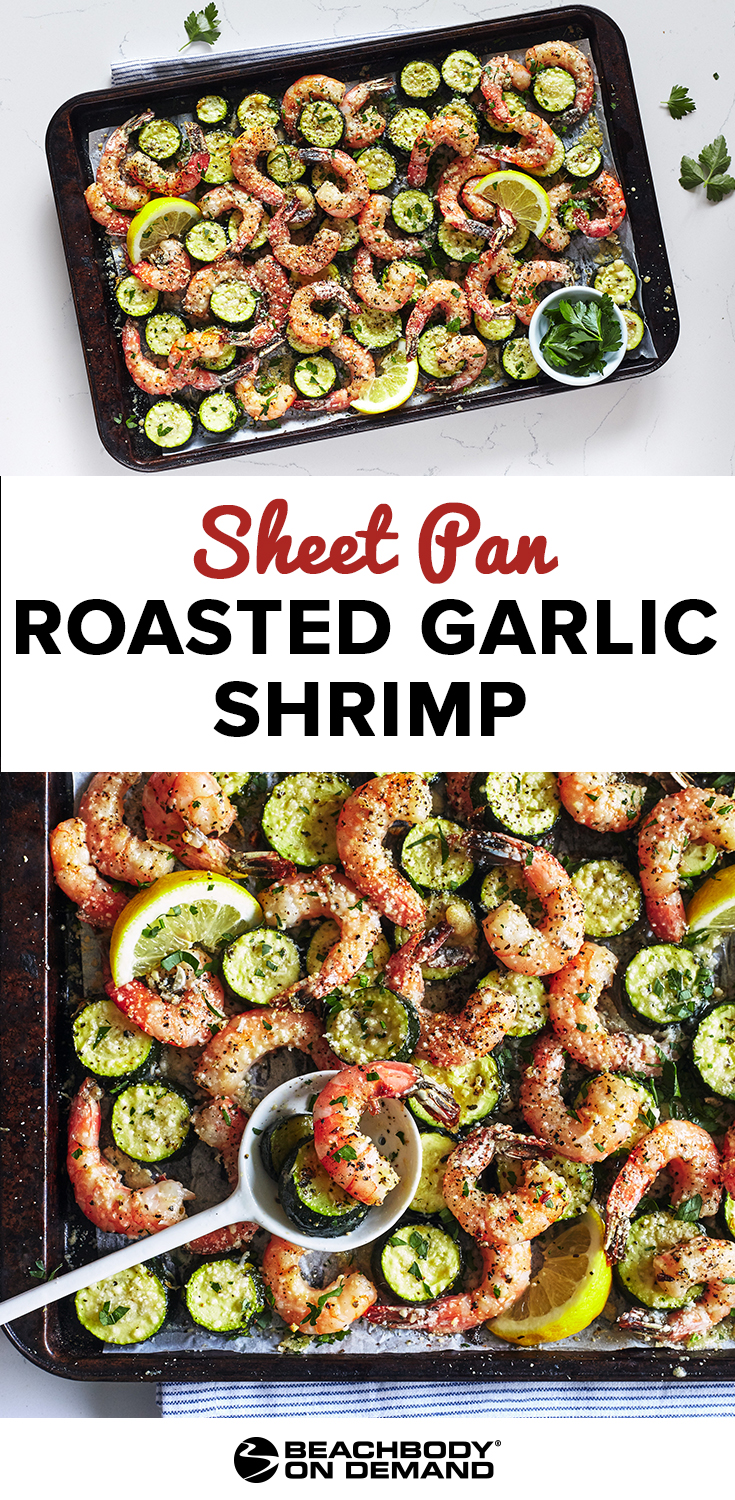ed Garlic Shrimp with Zucchini, sheet pan dinner recipe