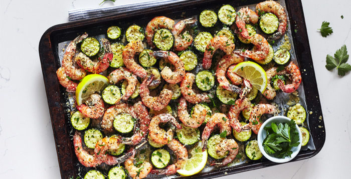 Sheet Pan Roasted Garlic Shrimp with Zucchini