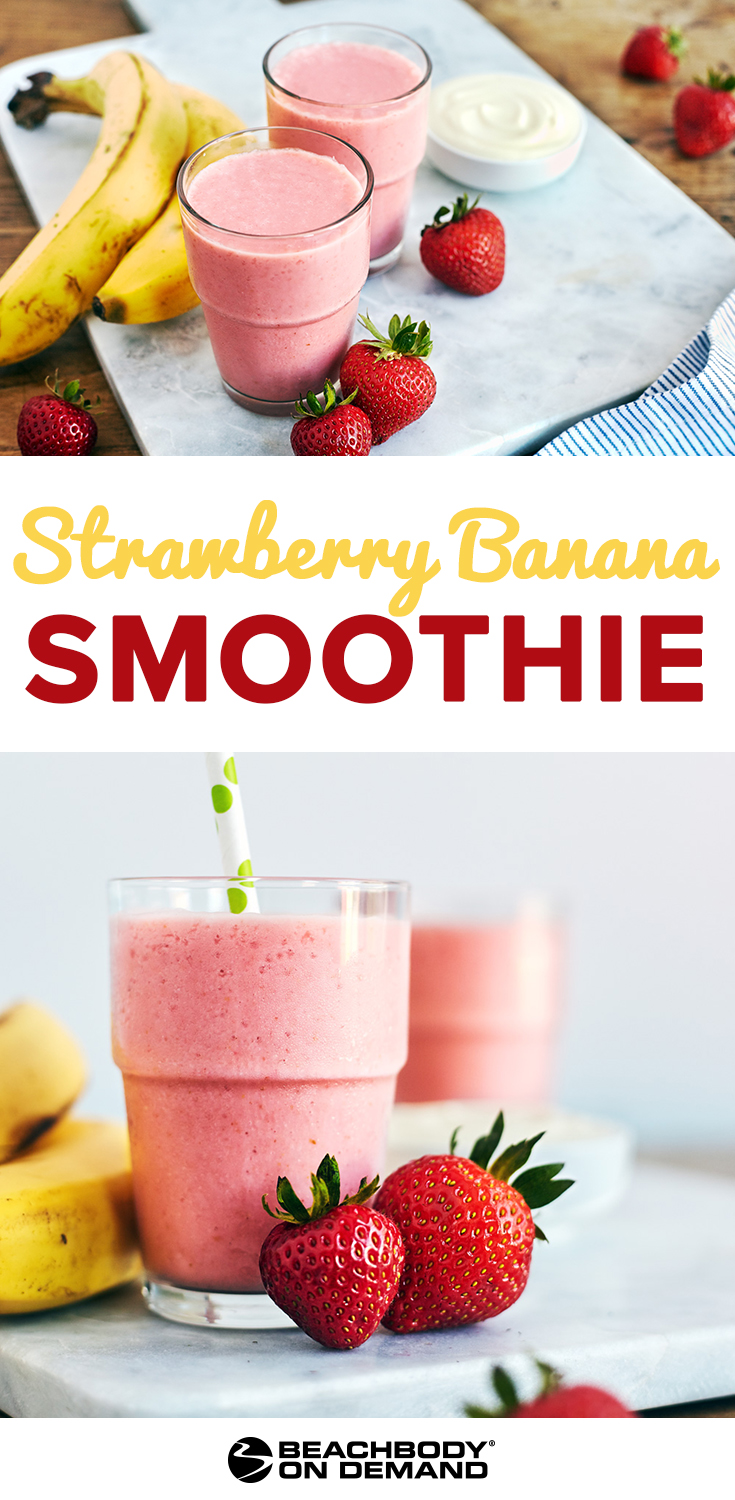 Greek Strawberry Banana Smoothie made with Strawberry Shakeology and Greek yogurt is a delicious breakfast smoothie.