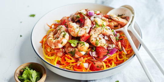 Fresh Tomato Salsa Shrimp with Carrot and Squash Noodles