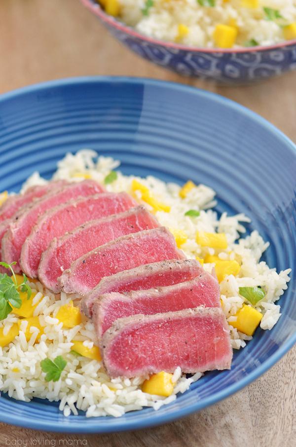 Hawaiian Recipes Ahi Tuna on Mango Rice