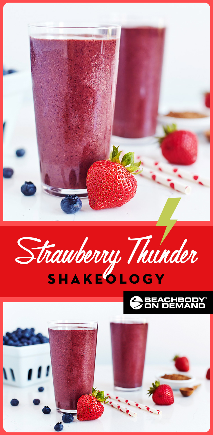 Chocolate-dipped strawberries are the decadent inspiration for this Strawberry Thunder Shakeology smoothie recipe made with strawberries, blueberries, and chocolate.