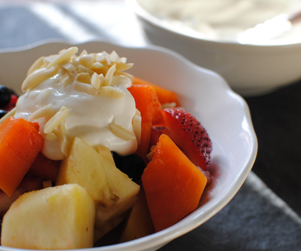 Tropical Fruit Salad With Vanilla Yogurt