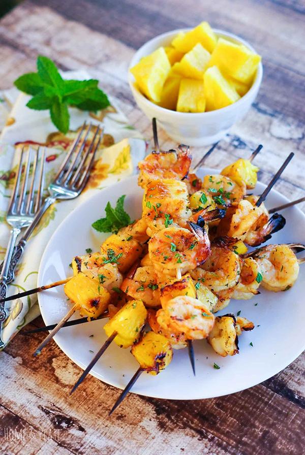Mint and Honey Hawaiian Shrimp Kabobs