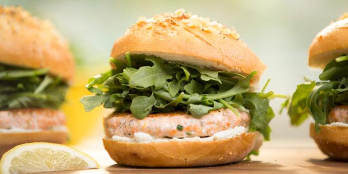 Wasabi Cream Cheese Salmon Burgers