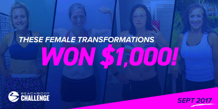 Female Beachbody Challenge Winners, Sept 2017
