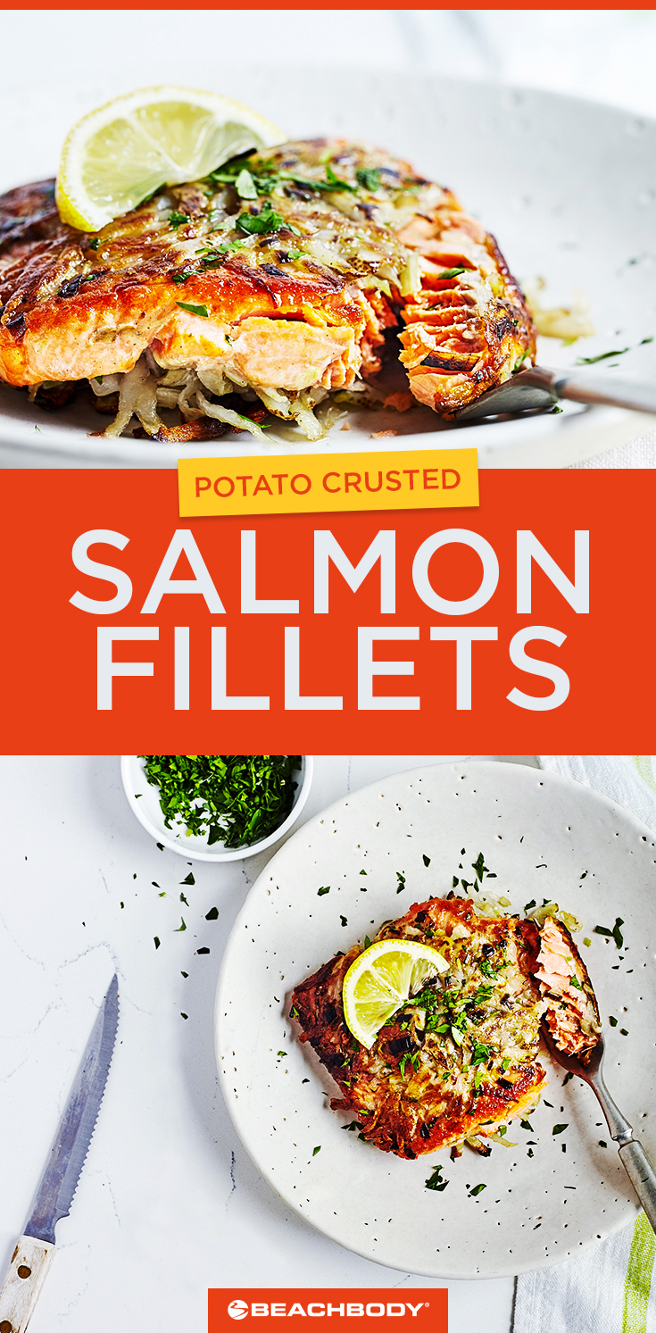 This healthy dinner recipe for Potato-Crusted Salmon Fillets can be made in 30 minutes.