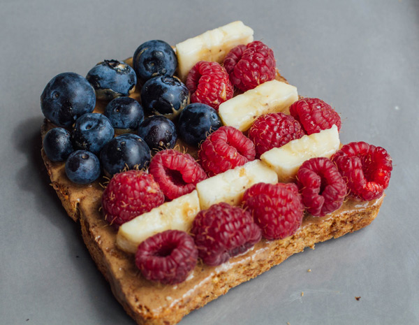 Double Time Family Recipes, almond butter banana toast made to look like an American flag
