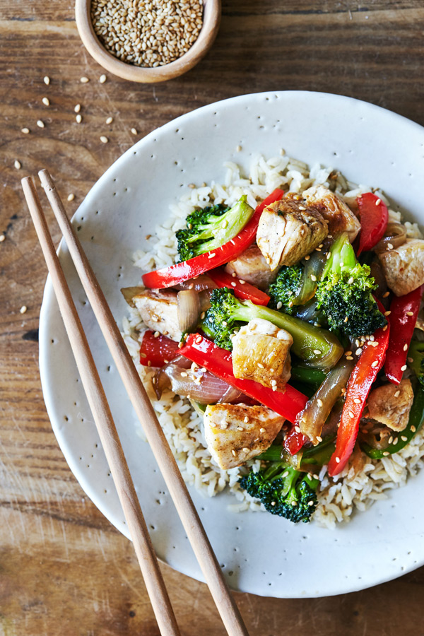 This healthy teriyaki chicken stir-fry recipe is an easy weeknight dinner featuring tender chicken breast and loads of fresh veggies.
