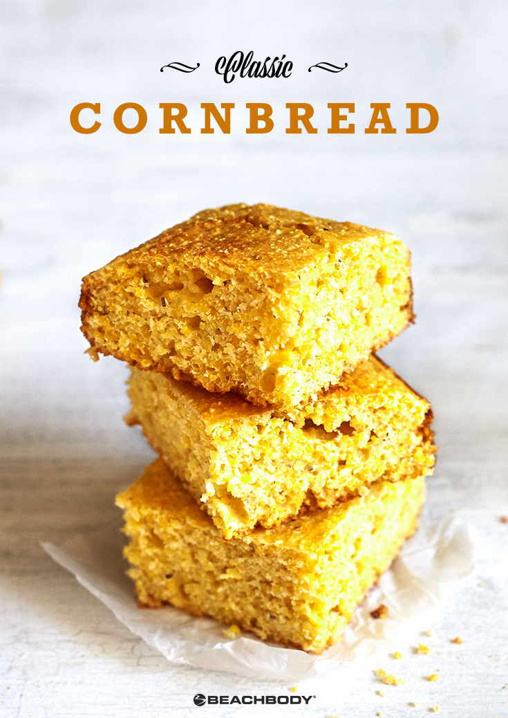 Classic cornbread recipe made healthy with coconut oil and honey. Only 87 calories per slice.