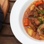 Carrots, potatoes, and celery make a great base for this beef stew recipe, and button mushrooms amp up it's meaty flavor.