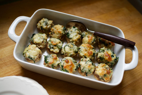 Double Time Family Recipes, Spinach and Cheese Stuffed Mushrooms recipe