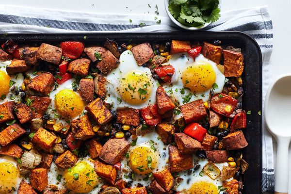 Double Time Family Recipes, sweet potato hash with eggs sheet pan recipe