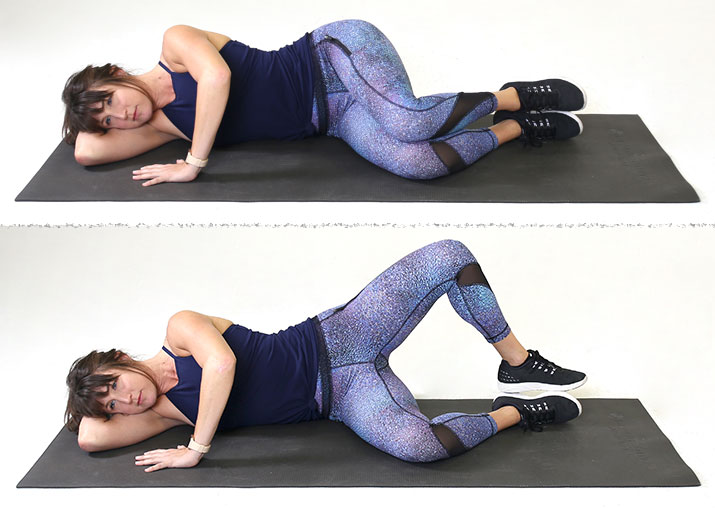 woman doing clamshell exercise