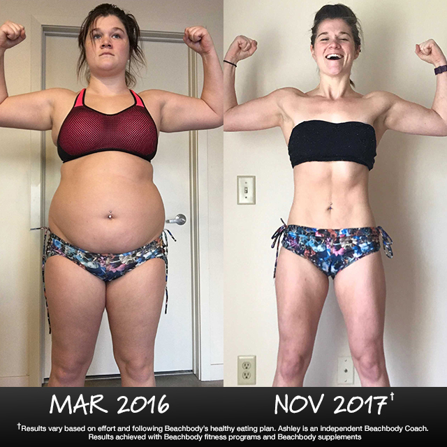 Over the last 20 months, Ashley has given 100% effort to Beachbody's system of fitness, nutrition, and support. And, behold the results of her hard work!
