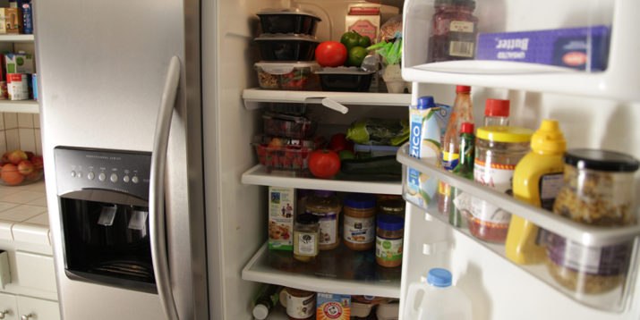 Food in a fridge and kitchen pantry