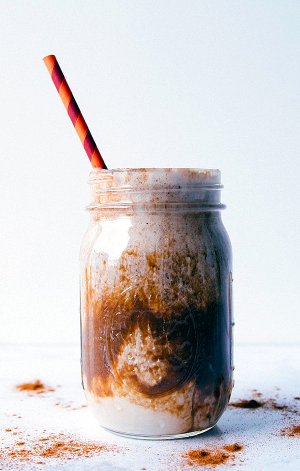 Iced Cinnamon Almond Milk Macchiato smoothie made with Vanilla Shakeology and Cafe Latte Shakeology